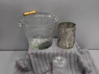 Glass Ice Bucket  Metal Butterfly Candle Shroud  Glass Cotton Ball Jar