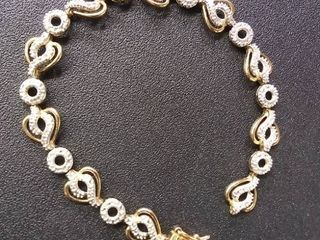 Gold Heart Tennis Bracelet Stamped 925