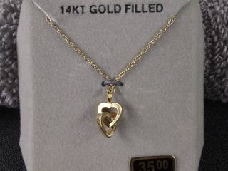 New 14 KT Gold Filled Heart Necklace  18  Chain