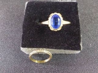 10 KT Hold Marked Rings  1 With Nice Blue Stone