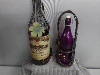 Decorative Metal Wine Bottle  With Purple Wine Bottle and Carrier