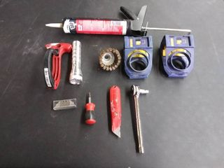 Tool lot   36   Assorted Tools Caulking Gun and Ratchet