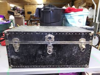 Vintage Black Wardrobe Trunk 16 x 20  x 35