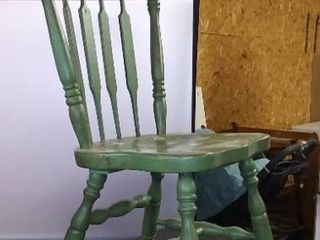 Green Spotted Chair   Solid Wood