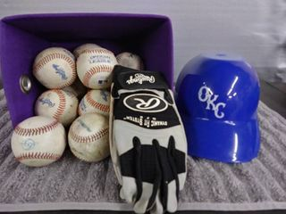 Helmet Batting Glove and Baseballs