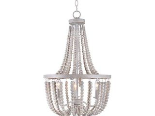 Dumas White with Weathered Wood Beads 3 light Chandelier