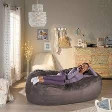 Barracuda Traditional 6 5 Foot Suede Bean Bag in Charcoal  Cover Only  by Christopher Knight Home  As Is Item