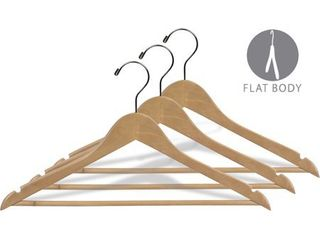 Natural Finish Wooden Suit Hanger with Fixed Pant Bar  Case of 25 hangers with Notches and Chrome Hook