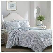 Blue Amberley Quilt Set  Twin    laura Ashley