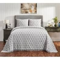 KING Fabstyles Tufted Venice Chenille Cotton 3 Piece Bedspread Quilt Set Retail 116 49