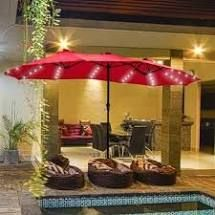 Red  Ainfox 15ft Double Sided Patio Solar led lighted Market Umbrella  Retail 144 49