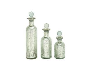 The Gray Barn Joyful Stream Decoractive Silver Glass Bottles with Stoppers  Set of 3