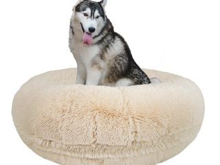 Bessie and Barnie Signature Blondie luxury Shag Extra Plush Faux Fur Bagel Pet  Dog Bed Retail 112 99