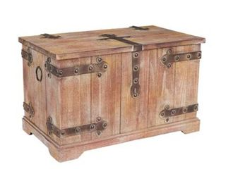 Household Essentials Victorian Storage Trunk with Metal Hinge Accents  large