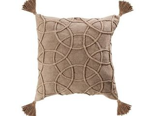 Pair of Taupe Corded Style Pillow Cover with Tassles 20x20 inch Pillow Cover Only Taupe Colors Taupe Finish