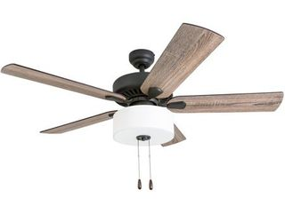 Prominence Home 50748 35 Canoe Ridge Farmhouse 52 Inch Aged Bronze Indoor Ceiling Fan  lED linen Fabric Shade  Barnwood Tumbleweed Blades and 3 speed remote