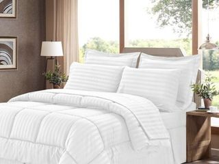 KING  Sweet Home Collection 8 Piece Bed In A Bag with Dobby Stripe Comforter  Sheet Set  Bed Skirt  and Sham Set   King   White