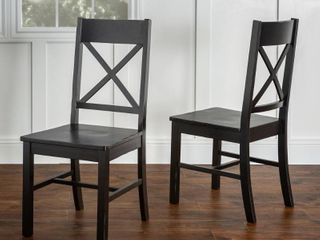 Traditional Wood Black Dining Chairs  Set of 2 by Manor Park