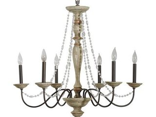 Alden Decor Maybel Chandelier in Washed Wood and Crystal Retail 593 99