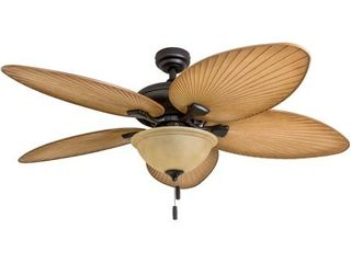 Honeywell Palm Valley 52  Bronze Tropical lED Ceiling Fan with light  Palm leaf Blades