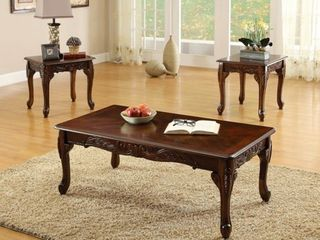 Furniture of America Mariefey 3 piece Cherry Coffee and End Table Set  Retail 412 92