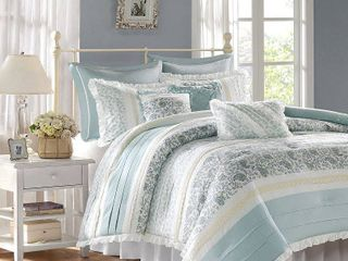 CAl KING Home Essence Stella 9 Piece Cotton Percale Bedding Comforter Set