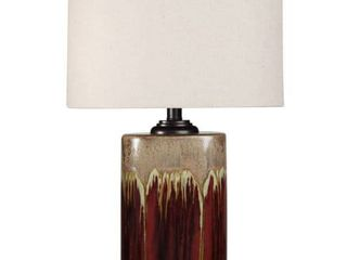 StyleCraft Tandoori Spice and Arabic Ceramic Dark Red And Tan Glaze Table lamp   White Fabric Shade Retail 84 99