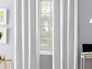 PAIR OF 108 x50  Duran Thermal Insulated 100  Blackout Grommet Top Curtain Panel White   Sun Zero