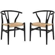 BlACK Poly and Bark Weave Chair  Set of 2  Retail 296 49