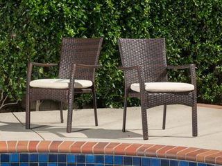 Corsica Outdoor Wicker Dining Chair  Set of 2  by Christopher Knight Home Retail 189 99