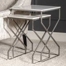 23    20 H White Marble and Matte Silver Nested Tables   23 H x 16 Sq  Retail 129 99