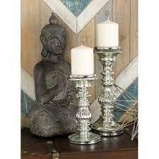 2 Piece Glass and Metal Tabletop Candlestick Se