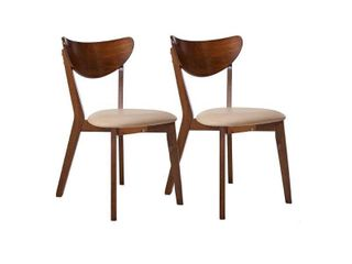 Dining Side Chairs with Curved Backs Off white and Chesnut  Set of 2