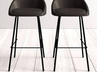 Pair of Bar   Counter Stook Upholstery  Tobacco Counter Stools