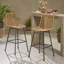 PAIR OF Enloe Wicker 28 75  Patio Bar Stool Frame Color  light Brown