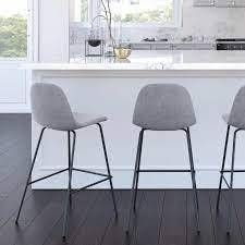 Avers Bar   Counter Stool Upholstery  Platinum