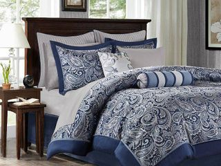 KING SIZED Madison Park Whitman Navy 12 piece Complete Bed Set Retail 156 68