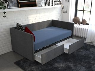 DHP Urban Daybed with Storage  Twin Size Frame  Gray linen