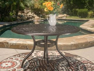 Outdoor Hallandale Round Cast Aluminum Bronze Dining Table  ONlY  by Christopher Knight Home  Retail 374 49