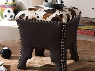 Baxton Studio Sally Modern and Contemporary Cow Print Patterned Fabric Brown Faux leather Upholstered Accent Stool with Nailhead Trim