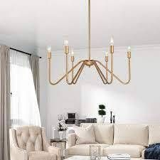 Modern Farmhouse 6 lights Candle Chandelier Gold Swag Hanging Pendant for Dining Room   D 26 7  H 25  Retail 189 99