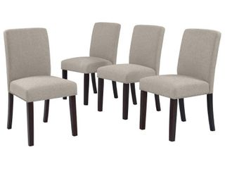 Handy living Brisbane Taupe linen Upholstered Dining Chairs  Set of 4  Retail 346 49