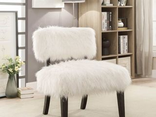 Furniture of America lana Contemporary White Faux Fur Accent Chair  Retail 184 10