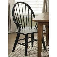 Solid Wood Windsor Back Arm Chair Black