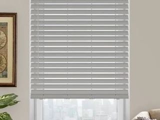 White Faux Wood Room Darkening Horizontal Blinds 29 75in   35 75in x 60in