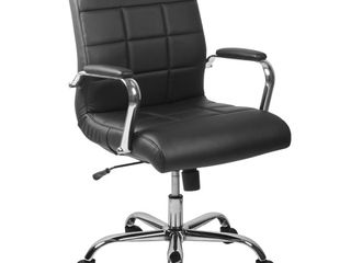 Flash Furniture Mid Back Black Vinyl Executive leather Swivel Office Chair with Chrome Arms