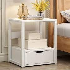 Franccesca 1  Drawer Metal Nightstand in White