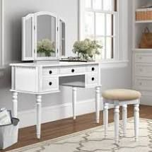 Torrance Vanity Set with Stool and Mirror Color  White