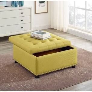 Audel 30 inch Tufted Square Storage Ottoman Top Only   Yellow