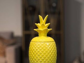 Urban Trends Collection  Ceramic Pineapple Canister Gloss Finish